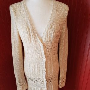 BCBGMaxAzri BOHO Crochet Button Cardigan Duster M